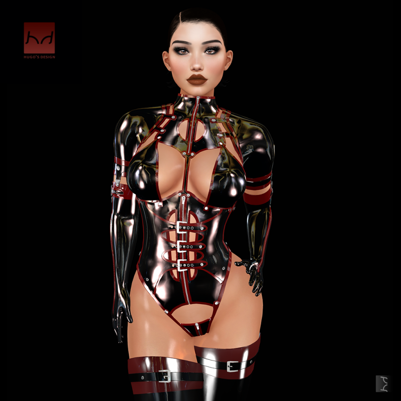 Expo 2k18 body suit in black with dark red trim